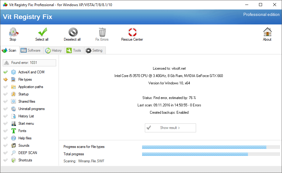 Vit Registry Fix Registry Cleaner Software